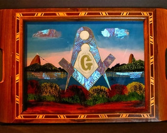 Curious Reverse Glass Painting Serving Tray From RIO With Classic Masonic Theme