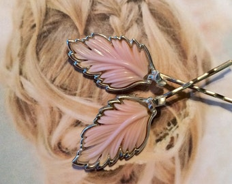 Decorative Hair Pins Bridal Jewelry 1950's Lisner Vintage Pink Leaves Hair Pins Bobby Pins