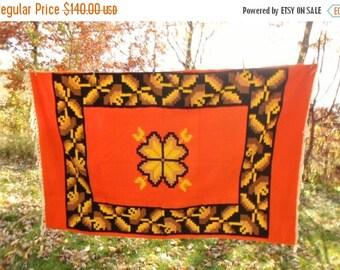 "ON SALE Vintage Wool Blanket, Native American, Mexican, Flower,  Orange, Golden Yellow, Brown, Black, Beige, 52"" x 80"" Wallhanging, Collecti"