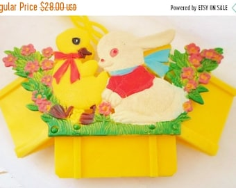 ON SALE Vintage Collapsible Hard Plastic Easter Basket, Made In Hong Kong, Bunny Rabbit, Duckling, Flowers, Bright Yellow, White, Red, Green