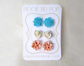 Flower Stud Earrings Set. Sky Blue Rose Studs, Cream Rose Earrings, Dusty Pink Lotus Earrings. Small Resin Stud Earrings for Everyday Wear.