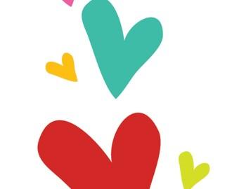 Rainbow Hearts Vertical Formation, left side, Digital File