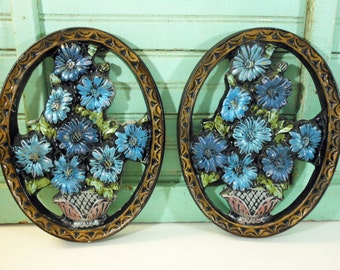 Vintage Plaster Blue Flowers in Silver Basket Chalkware Plaques Set of Two