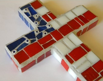 American Flag Mosaic Cross