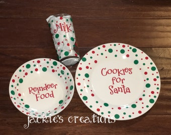 Personalized Santa's Cookies, Reindeer food & Milk Plate, Bowl, and Glass Set for Santa