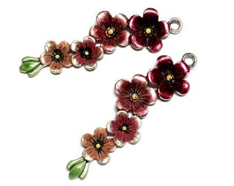 2 Hand Painted Silver Cherry flowers Bright color hand paited Flowers Pendant Charm Very large 56mm X 16mm  Floral, cherry blossom,Bloom