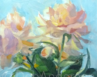 Small Oil Painting of a Backlit Peonies