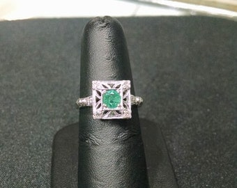 Ladies, Antique, Emerald, Diamond, 14k, White, Gold, Ring