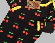 3-6m Cherry Print Baby Sleepsuit - boy - Girl - Kitsch - Cool Baby - Hipster Baby - Black Baby Clothes - Cherries - Retro Baby - Baby Shower
