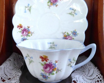 Shelley China Stratford Shape Cup and Saucer Rose And Bluebell Teacup Afternoon Tea
