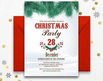 Instant download christmas invite printable christmas party invitations holiday flyers holiday party invitations holiday invitation template