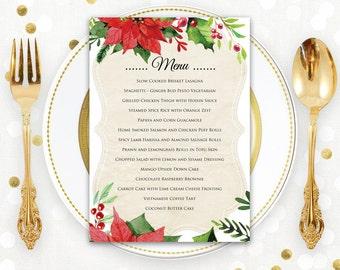 Christmas Menu Printable Dinner Menu Rustic Christmas Dinner Menu Holiday Menu & Winter Dinner Party DIY Menu Card INSTANT DOWNLOAD Editable