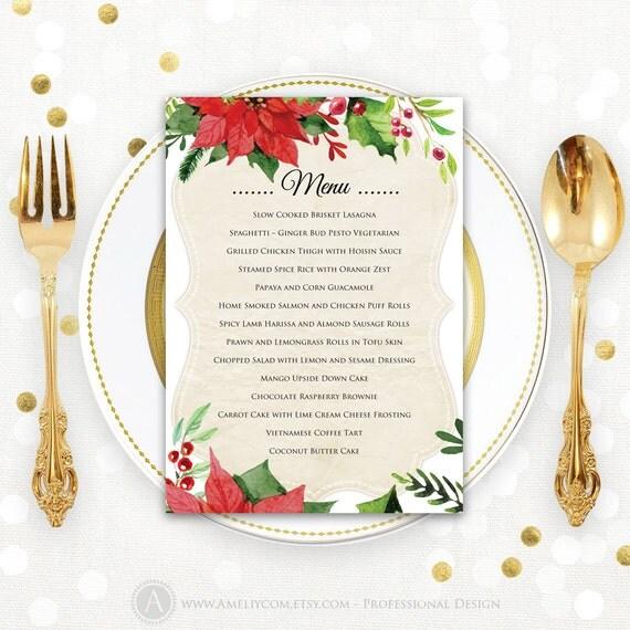 Christmas Menu Printable Dinner Menu Rustic Christmas Dinner Menu ...