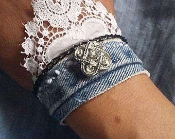 denim bracelet/cuff with antique lace and vintage button by Zestria