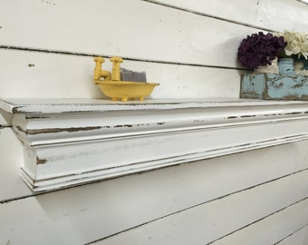 French Country Mantel Shelf, Primitive Mantle Shelf,Fireplace Mantel, Shabby Style Mantel Shelf,Architectural Salvage Mantel,Fireplace