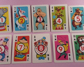 Vintage children's Crazy Eights playing cards 1-10 (E-258)