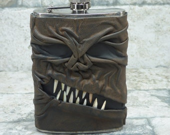Necronomicon Flask Black Brown Leather Covered Monster Goth 8 Ounce