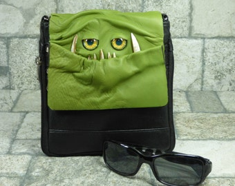 Purse With Face Small Messenger Bag Cross Body Monster Harry Potter Labyrinth Green Black Leather