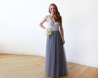 Silver sequins and grey tulle gown, Tulle and sequins formal maxi dress 1094