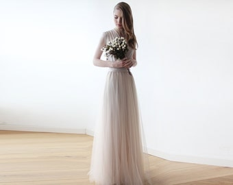 Champagne maxi tulle sleeveless gown , Bridesmaids maxi champagne tulle dress 1076