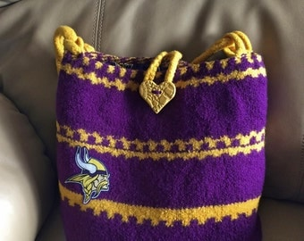 Minnesota Vikings Felted Wool Knit Purse