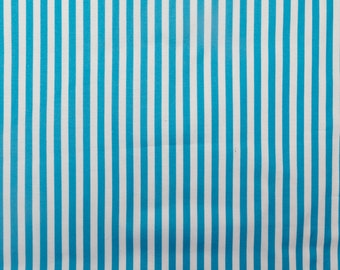 ℳ Turquoise Blue and White Stripe 100% Cotton 45 Inches Wide FC12439