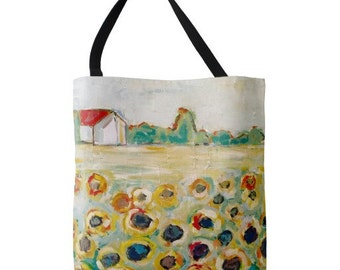 Sunflower Fields LARGE Tote Bag