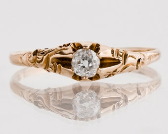 Antique Engagement Ring - Antique 1920's 14k Rose Gold Diamond Engagement Ring