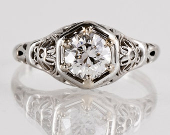 Antique Engagement Ring - Antique 1920s 14k White Gold Filigree Diamod Engagement Ring