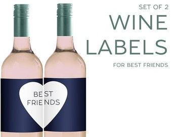 Set of (2) Wine Labels for BEST FRIENDS [Funny gift for Wine Lovers!] best friend necklace, BFF, best friend gift
