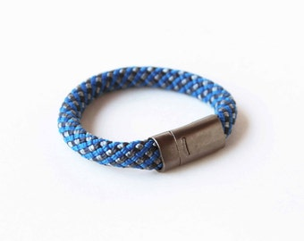 Climbing Rope Bracelet w/ Magnetic Clasp- Blue Grey