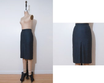 1980s 90s  Celine skirt | Vintage 80s 90s gray pleat pencil skirt