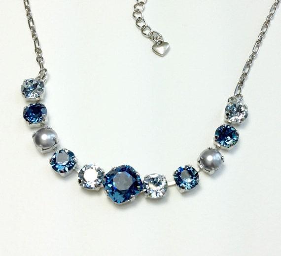 Swarovski Crystal Necklace 12MM/8.5mm - Denim Blue, Blue Shade, Dove Grey Pearls -  Sparkle & Shimmer -  FREE SHIPPING