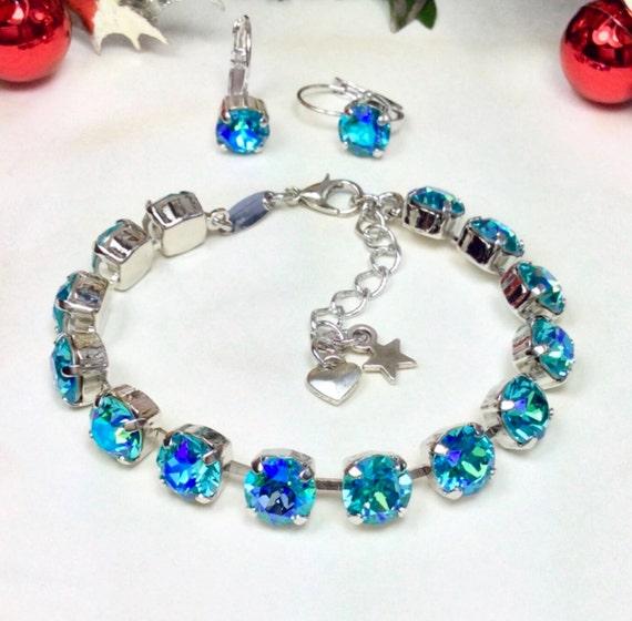 Swarovski Crystal 8.5mm Bracelet & Earring Set - Lt. Turquoise Glacier Blue Shimmer Bracelet and Earrings Designer Inspired - FREE SHIPPING