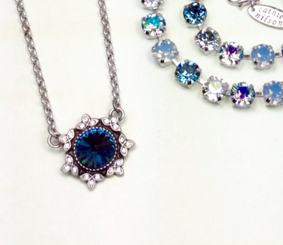 Swarovski Crystal 12MM Pendant - Designer Inspired Filigree and 12MM Crystal - Classy -  In Your Favorite Color- FREE SHIPPING
