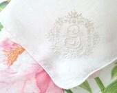 Vintage Monogrammed Ladies' Handkerchief, Letter G, Embroidered Design, Bride to Be, Wedding Gift