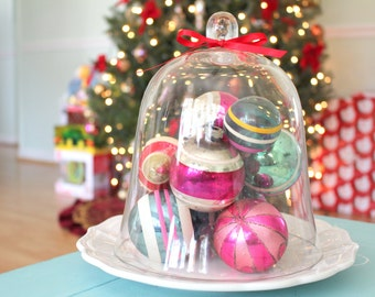 CLOCHE/DOME, Vintage, Large Terrarium Glass Cloche/Dome, Victorian Christmas Decor, Gifts for Her