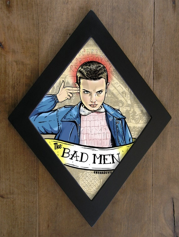 Eleven  from Stranger Things. The Bad Men diamond framed print.