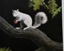 30% OFF 1989 Darrell Wirkkula Original Scraper Board Art Squirrel on Oak Tree Limb With Acorn British Made Essdee Scraper Board Large Size 2