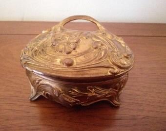 Vintage Dresser Box - Art Neaveu Dresser Box - Ornate Metal Dresser Box - Ring Box - Jewelry Box - Trinket Box