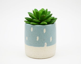 Teal Pottery Planter - Stoneware Planter  - Ceramic Planter