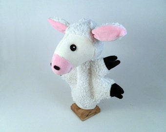 Bari, the lamb - 8 inches white hand puppet toy for children for tales