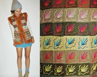 SHOP IS AWAY 1970s Embroidered Leather Patchwork Vest with Rabbit Fur Trim