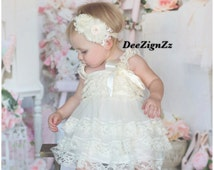 Petti-Lace-Rustic-Dress-Baby-Ivory-Girls -Ruffles-Posh-1st Birthday-Outfit-Baby Outfit-Baptism-Christening-Country-Barn-Wedding