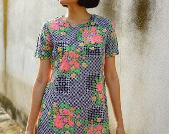 Sale! Vintage Dress/ 1980s Dress/ Vintage Japanese Dress/ Womens Dress/ Summer Dress/ Floral Dress/ 80s Dress/ Mini Dress/ Mod Dress