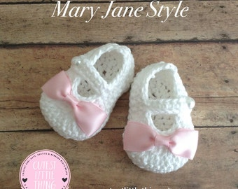 White Crochet Baby Booties Mary Janes, Christening Shoes, Baptism Shoes, Pink Bow Crochet Booties, Baby Girl Booties, Baby Shower Gift