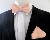 Men's Bowtie ~ Blush 100% linen  ~  combination choice - men's bowtie set - bowtie only - pocket square only