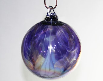 Blown Glass Christmas Ornament - Iridescent Amethyst Purple & White Feathered