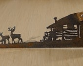 Made to Order- Hand (Plasma) cut Hand Saw featuring Deer at the Cabin
