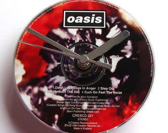 "OASIS DAY CD Clock, ""Don't Look Back In Anger"", Recycled music cd single, Gift for, men, women, guys, rockers, indie brit rock pop gallagher"